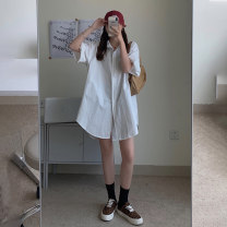 Dress Summer 2021 White, blue Average size Short skirt singleton  Short sleeve commute Crew neck Loose waist Solid color routine 18-24 years old Korean version 8285M 51% (inclusive) - 70% (inclusive) polyester fiber
