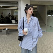 shirt Picture color Average size Spring 2021 polyester fiber 51% (inclusive) - 70% (inclusive) Long sleeves commute Regular Polo collar Single row multi button routine stripe 18-24 years old Straight cylinder Korean version