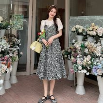 Dress Summer 2021 Two black flowers and two orchids S, M Middle-skirt Fake two pieces Long sleeves commute Crew neck Decor zipper A-line skirt puff sleeve camisole 18-24 years old Type A Korean version zipper 9103X 51% (inclusive) - 70% (inclusive) Chiffon polyester fiber