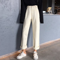 Jeans Spring of 2019 S,M,L trousers High waist Knickerbockers routine 18-24 years old Button 81% (inclusive) - 90% (inclusive)