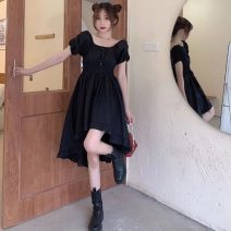 Dress Summer 2021 black Average size Mid length dress singleton  Short sleeve commute V-neck High waist Solid color Socket A-line skirt routine 18-24 years old Type A Korean version Splicing 9930H 71% (inclusive) - 80% (inclusive) polyester fiber