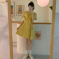 Dress Summer 2021 Violet, yellow S code, M code Middle-skirt singleton  Short sleeve commute tailored collar Solid color routine 18-24 years old Type A Korean version 3059X 51% (inclusive) - 70% (inclusive) polyester fiber
