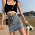 skirt Summer 2021 S,M,L Blue, black Short skirt commute High waist skirt Solid color Type A 18-24 years old 5195M 51% (inclusive) - 70% (inclusive) cotton Korean version