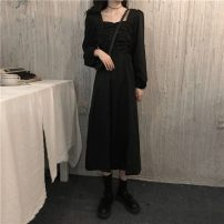 Dress Spring 2021 black Average size Middle-skirt singleton  Long sleeves commute square neck Solid color Socket routine 18-24 years old Type A Korean version 6573X 51% (inclusive) - 70% (inclusive) polyester fiber