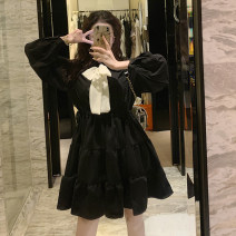 Dress Spring 2021 White, black Average size Middle-skirt singleton  Long sleeves commute Polo collar High waist Solid color Socket A-line skirt routine 18-24 years old Type A Korean version Splicing 9512M 51% (inclusive) - 70% (inclusive) polyester fiber