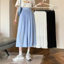 skirt Summer 2021 S,M,L White, blue, black Mid length dress commute High waist A-line skirt Solid color Type A 18-24 years old 52022H 71% (inclusive) - 80% (inclusive) polyester fiber Korean version