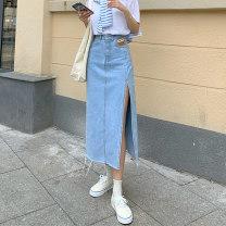 skirt Summer 2021 S,M,L,XL Light blue, black Mid length dress commute High waist Denim skirt Type A 18-24 years old 8027F 71% (inclusive) - 80% (inclusive) Denim Korean version