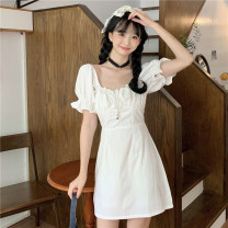 Dress Summer 2021 white Average size Short skirt singleton  Short sleeve commute square neck High waist Solid color A-line skirt puff sleeve 18-24 years old Korean version 7378H 51% (inclusive) - 70% (inclusive) cotton