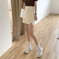 skirt Summer 2021 S,M,L Apricot, blue, black, pink Short skirt commute High waist A-line skirt Solid color Type A 18-24 years old 7765H 71% (inclusive) - 80% (inclusive) polyester fiber Korean version