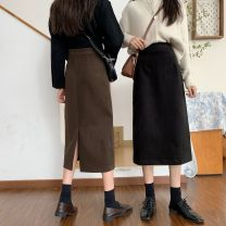 skirt Autumn 2020 S,M,L Black, brown Mid length dress commute High waist A-line skirt Solid color Type A 18-24 years old 1171X 71% (inclusive) - 80% (inclusive) polyester fiber Korean version