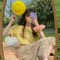 Fashion suit Summer 2021 Average size Yellow jacket, purple jacket, yellow floral skirt, purple floral skirt 18-25 years old 643F 51% (inclusive) - 70% (inclusive) polyester fiber