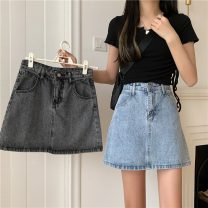 skirt Summer 2021 S,M,L,XL Gray, blue Mid length dress commute High waist A-line skirt Solid color Type A 18-24 years old 9384X 71% (inclusive) - 80% (inclusive) cotton Korean version