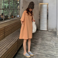 Dress Summer 2020 Orange, haze blue M,L,XL Mid length dress singleton  Short sleeve commute Crew neck Loose waist character Socket routine 18-24 years old Type H Other / other Korean version D539M 51% (inclusive) - 70% (inclusive) cotton