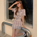 Fashion suit Summer 2021 S, M Plaid jacket, plaid skirt 18-25 years old 6209M 51% (inclusive) - 70% (inclusive) polyester fiber