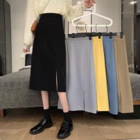 skirt Spring 2021 S,M,L Khaki, light grey, blue, yellow, black Mid length dress commute High waist A-line skirt Solid color Type A 18-24 years old 9213H 81% (inclusive) - 90% (inclusive) polyester fiber zipper Korean version