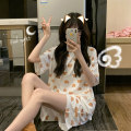 Pajamas / housewear set female Other / other Average size White, pink, yellow Polyester (polyester) Short sleeve Simplicity Leisure home summer Crew neck shorts 2 pieces 61% (inclusive) - 80% (inclusive)