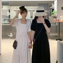 Dress Summer 2021 White, black Average size Mid length dress singleton  Short sleeve commute square neck Solid color puff sleeve 18-24 years old Korean version 71% (inclusive) - 80% (inclusive) polyester fiber