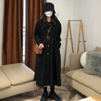 Windbreaker Autumn 2020 Average size Western style coffee, classic black Long sleeves routine have more cash than can be accounted for commute Single breasted routine Korean version 917M 18-24 years old 51% (inclusive) - 70% (inclusive) polyester fiber