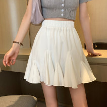 skirt Summer 2021 Average size White, black Short skirt commute High waist A-line skirt Solid color Type A 18-24 years old 8361M 51% (inclusive) - 70% (inclusive) cotton Lotus leaf edge Korean version