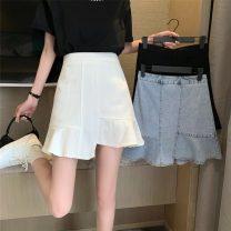 skirt Summer 2021 S,M,L White, blue, black Short skirt commute High waist Irregular Solid color 18-24 years old 51088H 71% (inclusive) - 80% (inclusive) polyester fiber Korean version