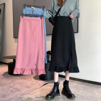 skirt Spring 2021 S,M,L Pink, blue, black Mid length dress commute High waist A-line skirt 18-24 years old 51% (inclusive) - 70% (inclusive) polyester fiber Korean version