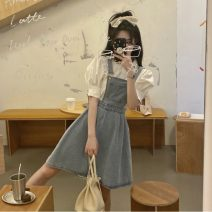 Fashion suit Summer 2021 S. M, l, average size Bubble sleeve shirt, denim strap skirt 18-25 years old 8032H 81% (inclusive) - 90% (inclusive) cotton