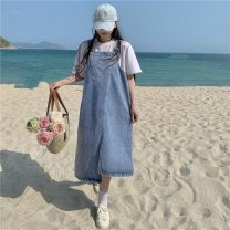 Dress Summer 2021 blue M, L Mid length dress singleton  Sleeveless commute Loose waist Solid color straps 18-24 years old Type H Korean version 715F 51% (inclusive) - 70% (inclusive) Denim