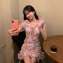 Dress Summer 2021 Graph color Average size Middle-skirt singleton  Short sleeve commute V-neck High waist Socket Ruffle Skirt puff sleeve 18-24 years old Korean version 2293H 71% (inclusive) - 80% (inclusive) polyester fiber