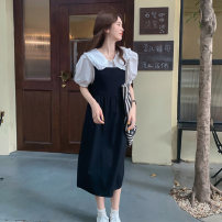 Fashion suit Summer 2021 Average size Black strap skirt, white shirt 18-25 years old 162M 51% (inclusive) - 70% (inclusive) Tencel