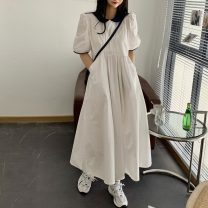 Dress Summer 2021 White, Navy Average size longuette Short sleeve commute Doll Collar High waist Solid color A-line skirt puff sleeve Others 18-24 years old Type A Korean version 3858F 31% (inclusive) - 50% (inclusive) cotton