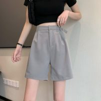 Casual pants Gray, blue, black S,M,L Summer 2021 shorts Straight pants High waist commute routine 18-24 years old 51% (inclusive) - 70% (inclusive) 6965F Korean version cotton