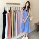 Dress Summer 2021 Orange, white, black, blue, pink, light green, yellow Average size Mid length dress Sleeveless commute V-neck High waist Solid color Socket routine 18-24 years old Korean version 51% (inclusive) - 70% (inclusive) polyester fiber