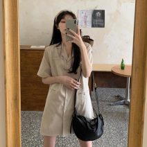 Dress Summer 2021 Dark blue, khaki S code, M code, l code Middle-skirt singleton  Short sleeve commute tailored collar Solid color 18-24 years old Korean version 3086H 71% (inclusive) - 80% (inclusive) polyester fiber