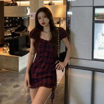 Dress Summer 2021 Graph color S, M Short skirt singleton  Short sleeve commute square neck High waist lattice A-line skirt Others 18-24 years old Korean version 5069F 51% (inclusive) - 70% (inclusive) polyester fiber