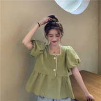 shirt Purple short, green short, apricot short Average size Summer 2021 cotton 81% (inclusive) - 90% (inclusive) Short sleeve commute Regular square neck puff sleeve Solid color 18-24 years old Straight cylinder Korean version 9368H