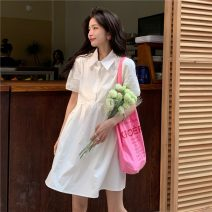 Dress Summer 2021 White, blue S, M Mid length dress singleton  Short sleeve commute Polo collar Solid color Socket routine 18-24 years old Type A Korean version 5829X 51% (inclusive) - 70% (inclusive) polyester fiber