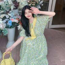 Dress Summer 2021 Yellow flowers with shawl, pink flowers with shawl, fog blue flowers with shawl Average size Mid length dress Two piece set Short sleeve commute square neck Broken flowers A-line skirt puff sleeve 18-24 years old Type A Korean version 165H 71% (inclusive) - 80% (inclusive)