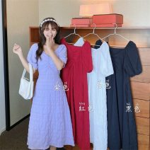 Dress Summer 2021 White, purple, red, black Average size Middle-skirt singleton  Short sleeve commute V-neck Solid color Socket A-line skirt routine 18-24 years old Type A Korean version 8143F 71% (inclusive) - 80% (inclusive) polyester fiber