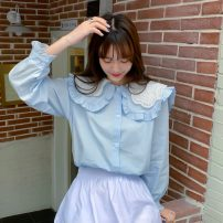 shirt White, blue Average size Spring 2021 polyester fiber 71% (inclusive) - 80% (inclusive) Long sleeves commute Regular Doll Collar Single row multi button routine Solid color 18-24 years old Straight cylinder Korean version 889H