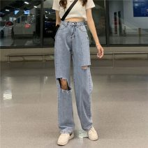 Jeans Summer 2021 blue S,M,L,XL trousers High waist Wide legged trousers routine 18-24 years old Wear out Cotton denim 51% (inclusive) - 70% (inclusive)