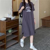 Dress Summer 2021 Gray, white, blue Average size Mid length dress singleton  Short sleeve commute Hood Loose waist Socket 18-24 years old Type H Korean version 5420M 51% (inclusive) - 70% (inclusive) cotton