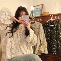 shirt White flowers, apricot flowers, black flowers Average size Spring 2021 polyester fiber 51% (inclusive) - 70% (inclusive) Long sleeves commute Regular Crew neck Socket routine Broken flowers 18-24 years old Straight cylinder Korean version 1800F