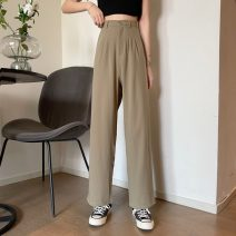 Casual pants Khaki, black S,M,L Summer 2021 trousers Straight pants High waist commute routine 18-24 years old 71% (inclusive) - 80% (inclusive) 6625X Korean version polyester fiber