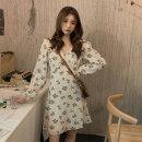 Dress Autumn 2020 Apricot, black Average size Middle-skirt singleton  Long sleeves commute V-neck High waist Decor zipper A-line skirt 18-24 years old Type A Korean version Frenulum 1535M 31% (inclusive) - 50% (inclusive) polyester fiber