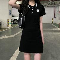 Dress Summer 2021 black Average size Short skirt singleton  Short sleeve commute Polo collar High waist Socket routine 18-24 years old Korean version 7011M 51% (inclusive) - 70% (inclusive) cotton