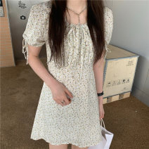Dress Spring 2021 Picture color S, M Short skirt singleton  Short sleeve commute High waist 18-24 years old Type A Korean version 3887M 51% (inclusive) - 70% (inclusive) polyester fiber