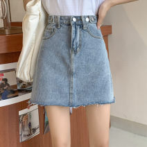 skirt Spring 2021 S,M,L,XL wathet Short skirt commute High waist A-line skirt Solid color Type A Denim Pocket, button, zipper Korean version