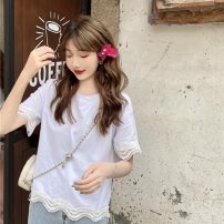 T-shirt White, black Average size Summer 2021 Short sleeve Crew neck easy have cash less than that is registered in the accounts routine commute cotton 51% (inclusive) - 70% (inclusive) 18-24 years old Korean version Solid color 302H