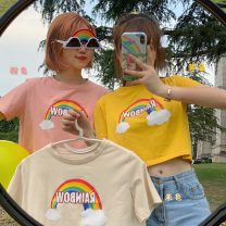 T-shirt Apricot, pink, yellow Average size Summer 2021 Short sleeve Crew neck easy have cash less than that is registered in the accounts routine commute cotton 51% (inclusive) - 70% (inclusive) 18-24 years old Korean version 2604X printing