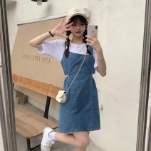 Dress Summer 2021 T-shirt, denim skirt Average size, s, M Short skirt Two piece set Short sleeve commute square neck High waist Socket A-line skirt camisole 18-24 years old Type A Korean version 2073F 51% (inclusive) - 70% (inclusive) Denim polyester fiber